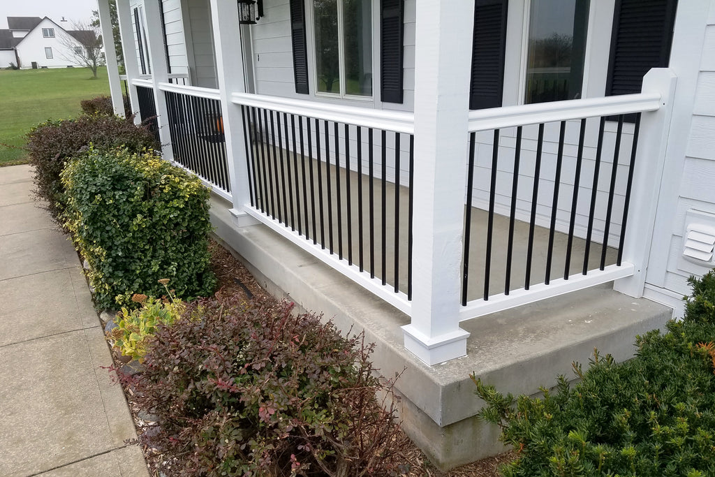 Summit_RadrianceRailWhite_BlackAluminumBaluster_Front, Composite RadianceRail white timbertech railing, deck rail composite, traditional composite rail, non-wood traditional railing, non-wood composite railing, synthetic rail