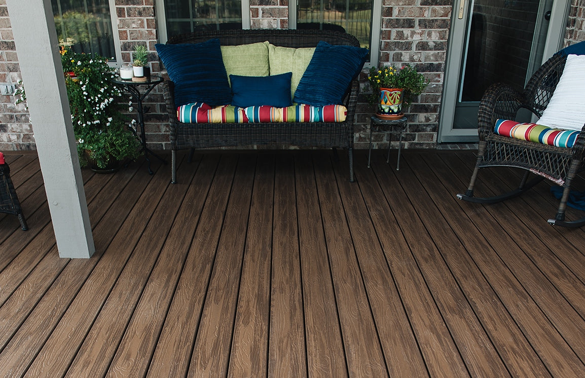 Inspiration Capped Composite Decking Collection by Envision the middle of the road varigated decking profile with three colors Barnwood Plank, Tangled Twine, Weathered Wicker