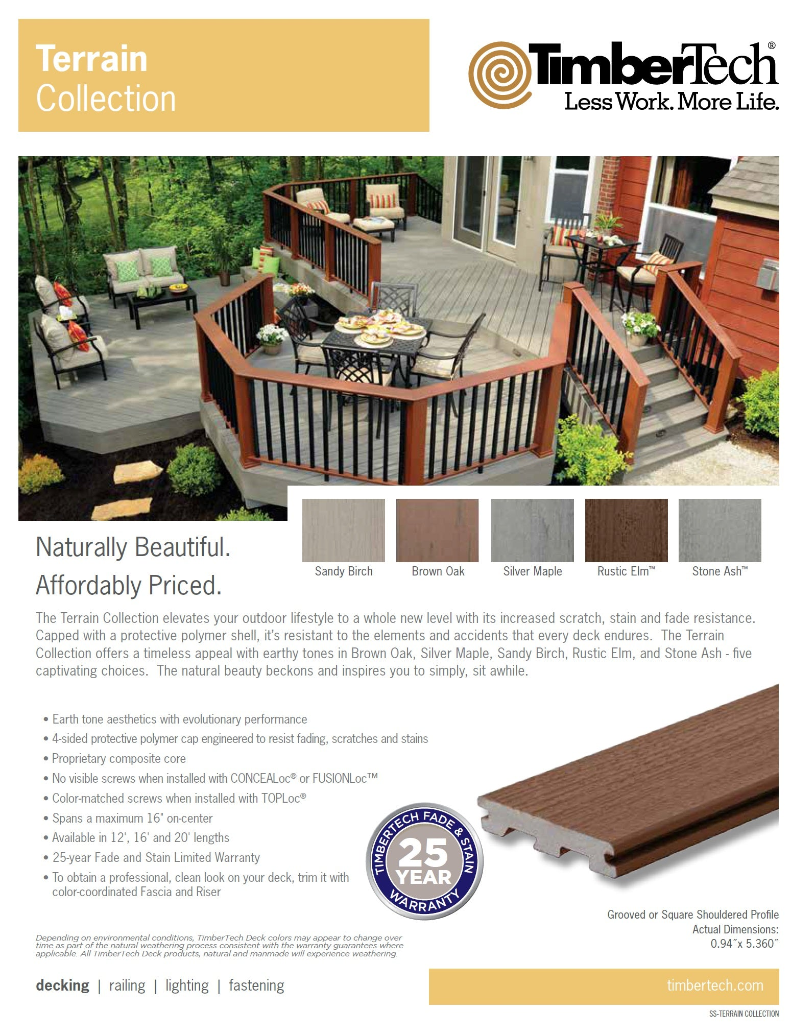 TimberTech Terrain Decking Page, Capped Composite Decking Grooved, Solid, Brown Oak, Silver Maple, Rustic Elm, Sandy Birch, Stone Ash