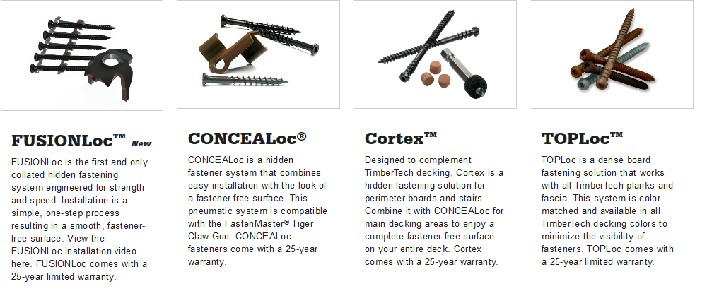 Azek Fastening Options, Cortex, CONCEALoc, TOPLoc, FUSIONLoc, Hidden Fastening Options