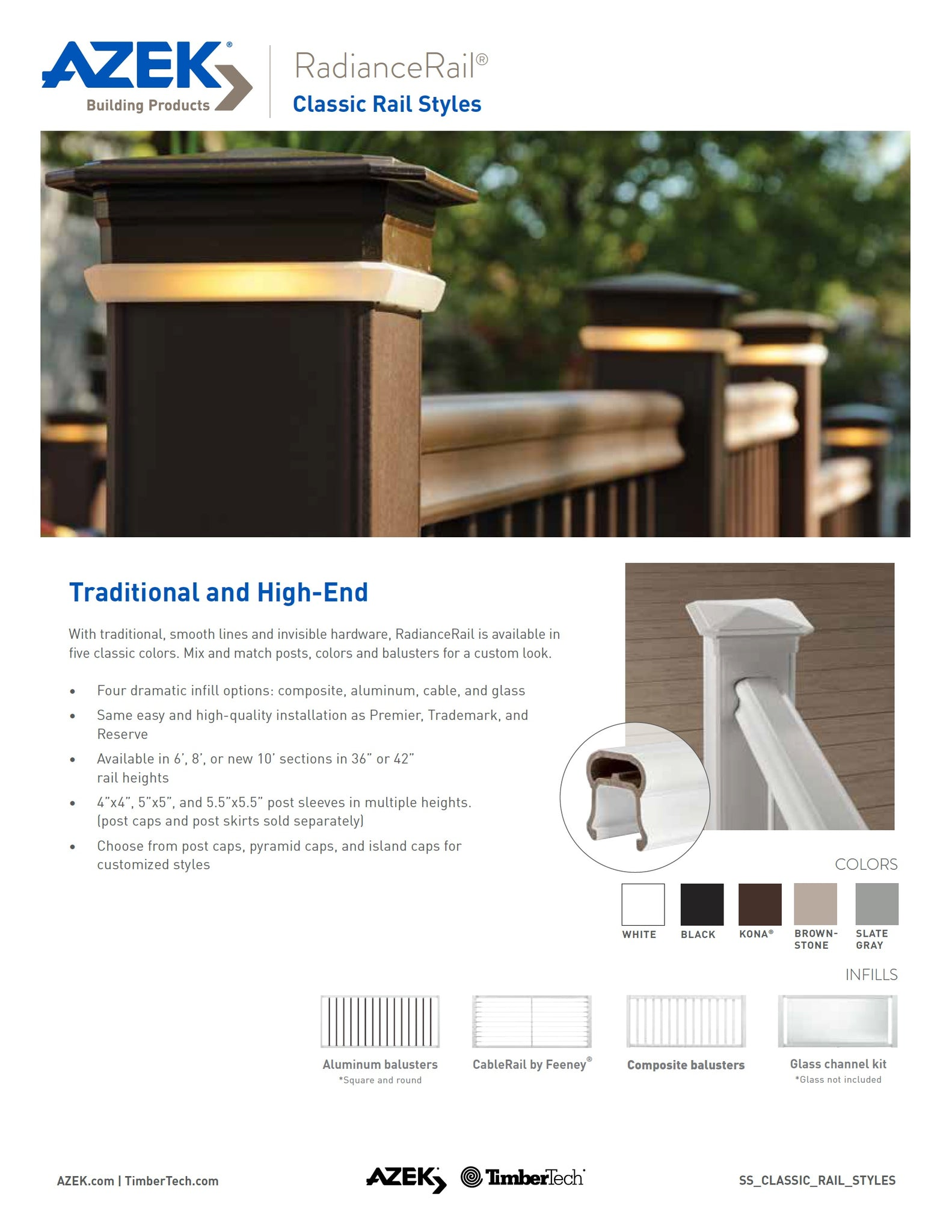 TimberTech RadianceRail Composite Kit System Rails, Balusters, Hardware, Cable Infill