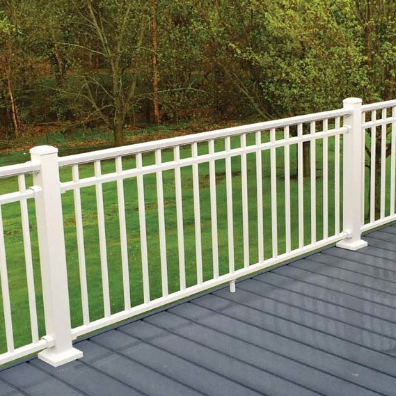 "DekPro Prestige in White Textured or Dream White with 3""x3"" posts and Tri-Rail 3-Rail"