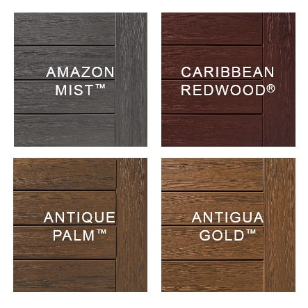 TimberTech Tropical, Antigua Gold, Antique Palm, Amazon Mist, Caribbean Redwood.