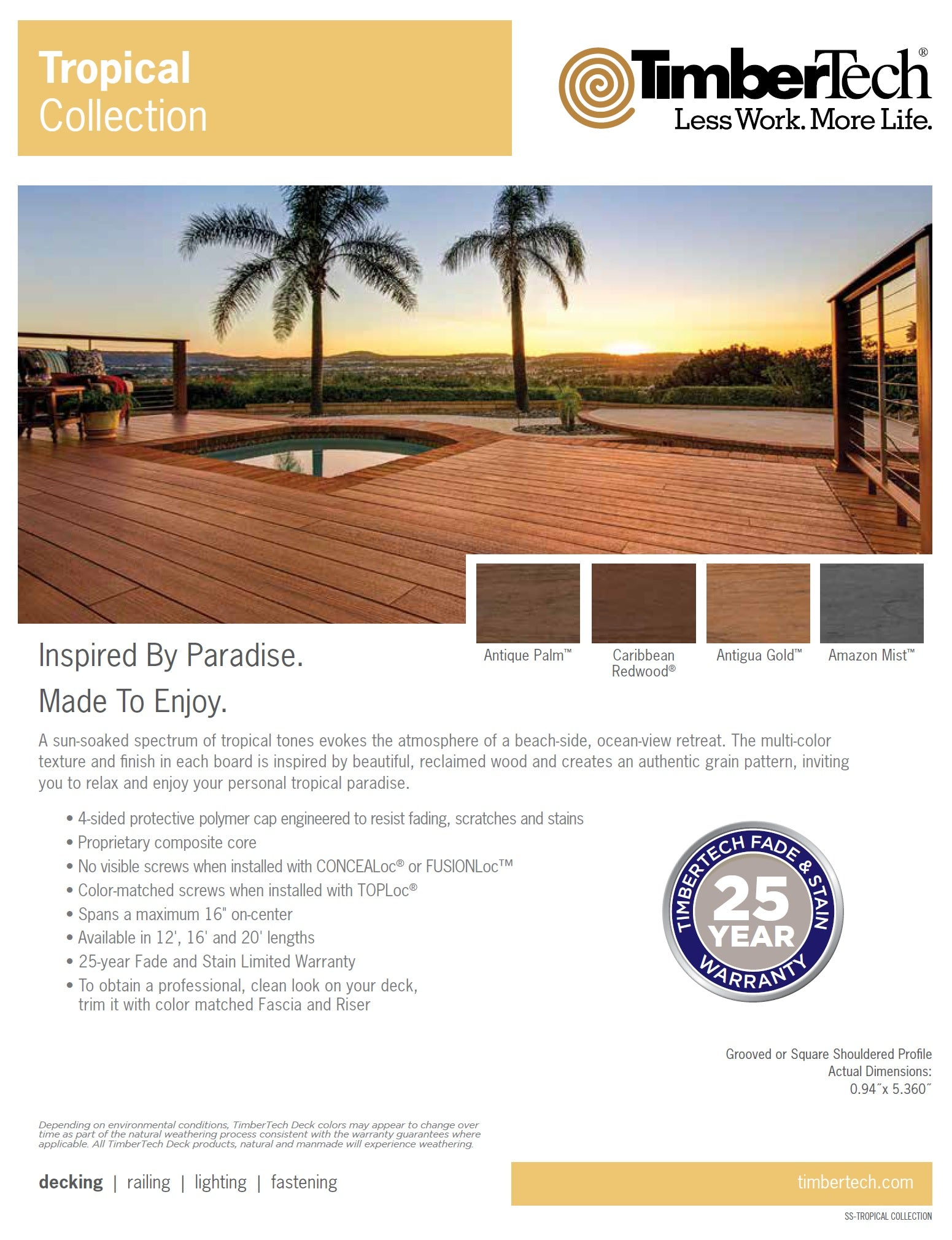 TimberTech Tropical Capped Composite Decking, Amazon Mist, Antigua Gold, Antique Palm, Solid Composite Decking