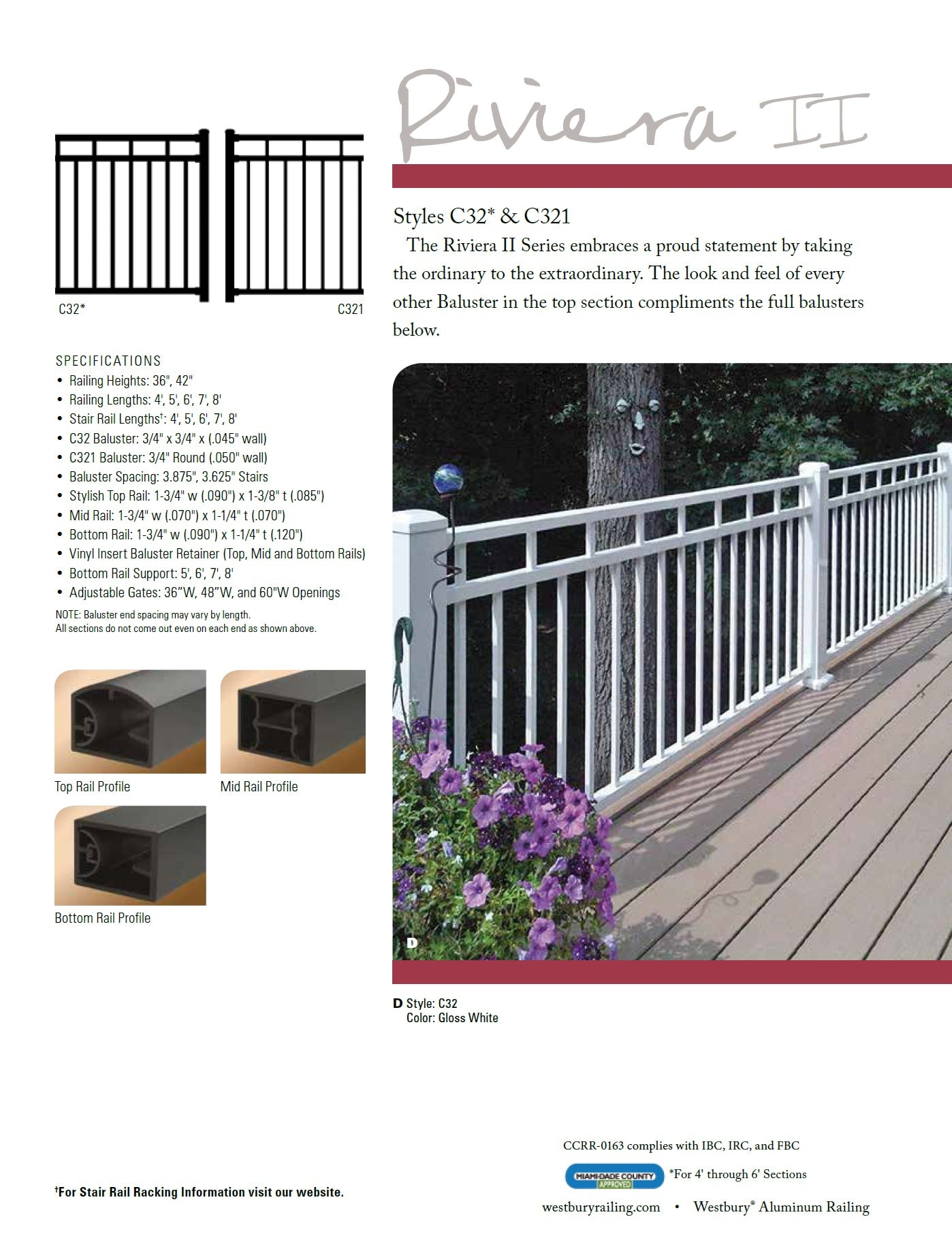 Westbury Riviera 2, Riviera II, C32 and C321 Aluminum Designer Railing, Deck railing high end, fancy deck railing, fancy fencing, top rated handrail