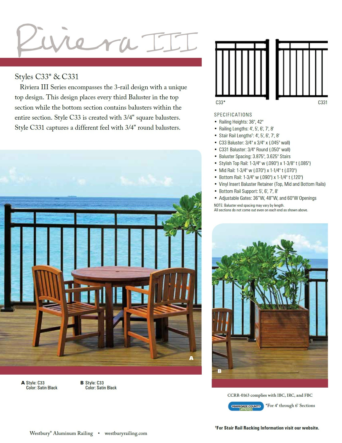 Riviera C33 and C331 Deck railing handrail deck handrail, rail system fence system