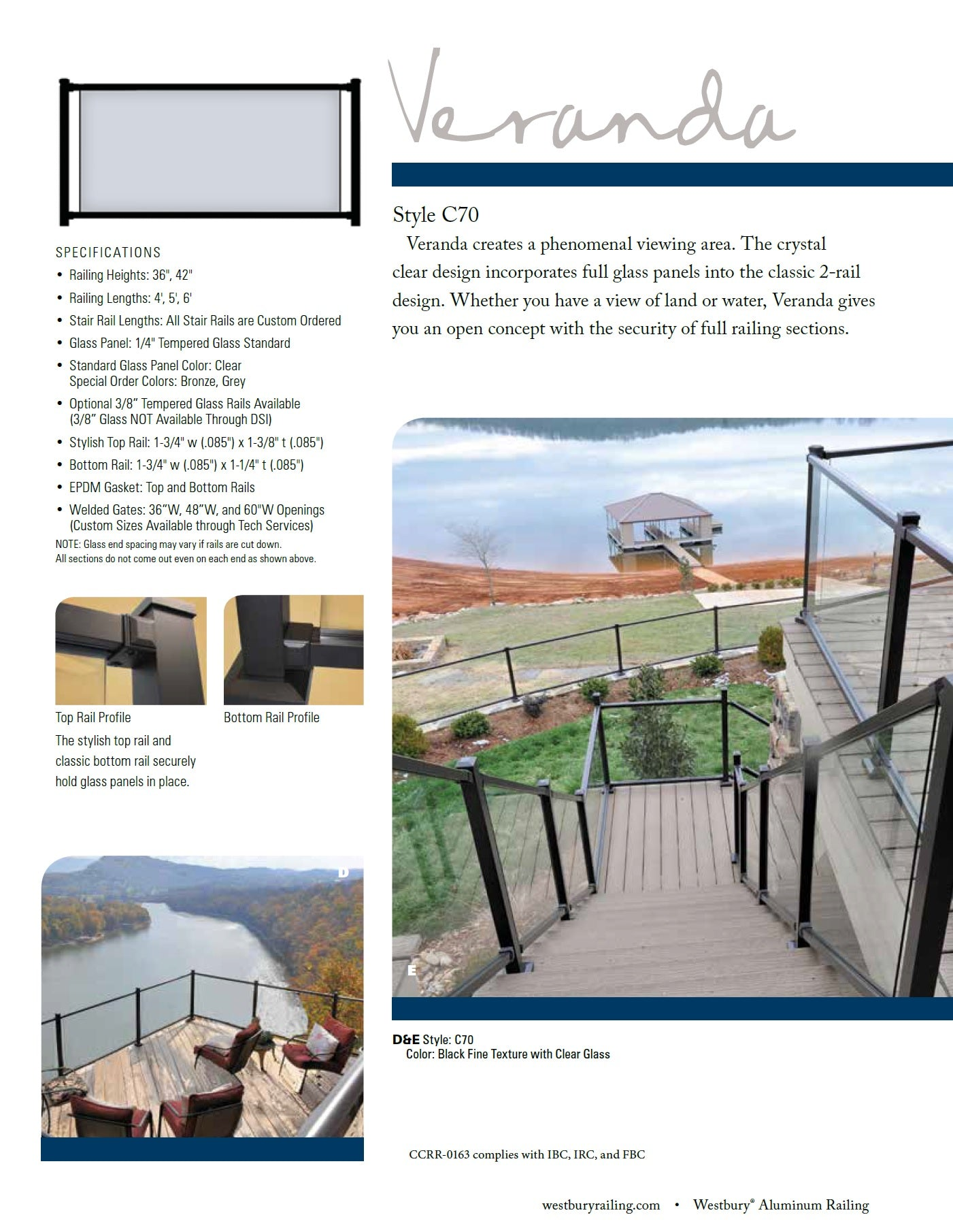 Westbury Veranda C70 Glass Railing System Aluminum and Glass Railing, Glass panel System