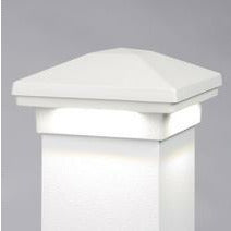 "Dream White DrmWht DWT Avalanche Down Lighted Post Cap Aluminum Railing  Cap Matchs DekPro Prestige Railing 3"" or 4"" Caps"