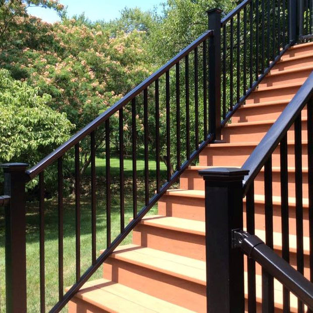 "DekPro PRestige Stair Railing Kits With Tall 44"" posts and Accents caps By Fortress"