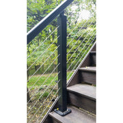 Feeney Stair Intermediate Post for Design Rail Black Cable Rail Post over the post rail no bottom rail, rails not included