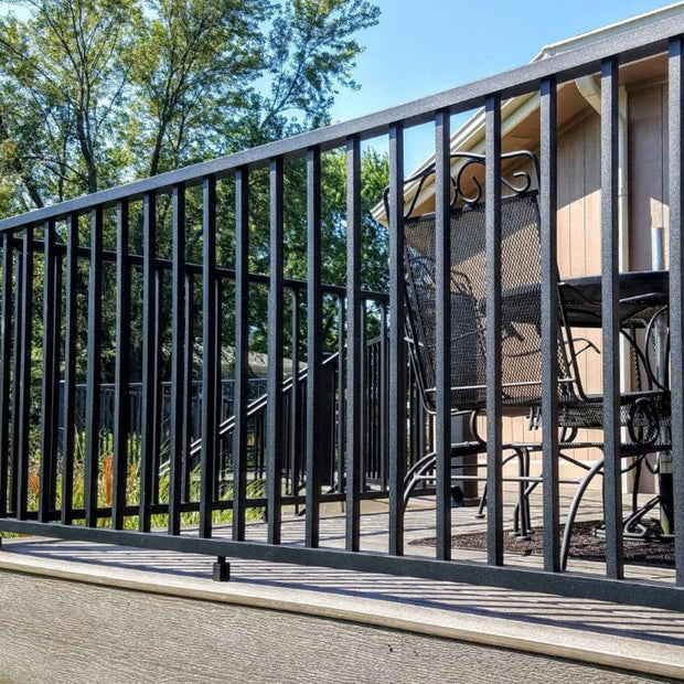 "Westbury Level Rail Kit residential railing 36"" deck handrail atop a composite deck with 4""x4"" posts all aluminum black fine texture"