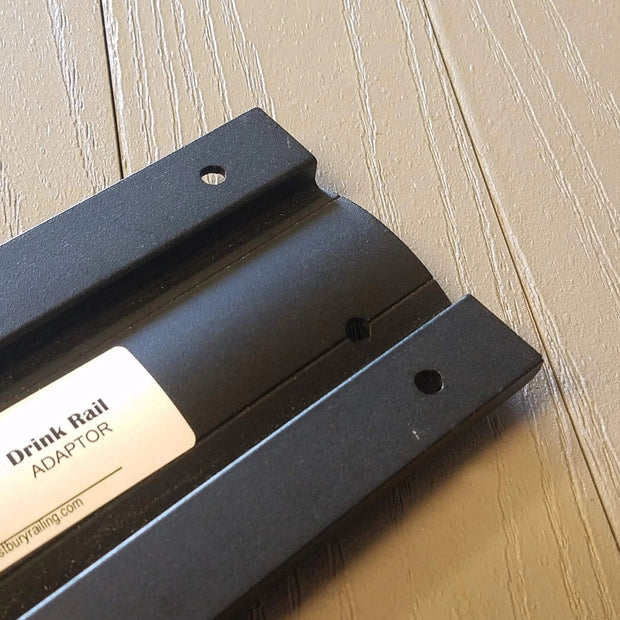 Black Texture Drink Rail Adapter Aluminum with Color match screws by westbury for over the post railing picture taken at Deck & Rail Supply 785 E Warren St, Gardner KS, 66030