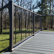 Level Railing meets stair railing in VertiCable an aluminum stainless steel cable system with prefabed panels for beauiful and easy cable rail