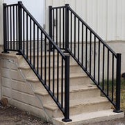 Tuscany C10 Black Railing, Aluminum Railing in Black Fine Texture, level landing, stair railing, taller posts at the bottom, Westbury C10 Black Fine Texture,