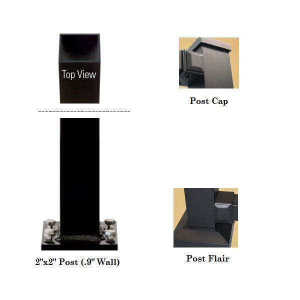 "Westbury 2"" Post Kit for Tuscany C10 C20 C30 railing systems aluminum post kit included post, post cap, post skirt or post flair, and leveling adjustors."