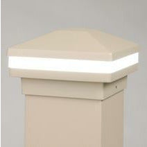 Maple Cream Halo Ring Lighted Cap, Stunning Post Cap, Beautiful Decorative Posts, DekPro Effex