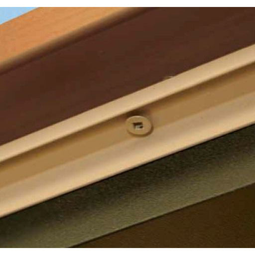 Underside of drink rail adapter with screws in cream color
