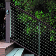 timbertech evolutions contemporary top rail traditional walnut used with cable by feeney