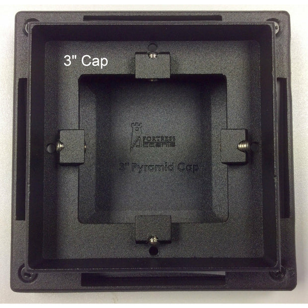 "Post cap, 3""x3"" Aluminum Post Cap, Post Caps, Black Sand, Pyramid Flat, Bottom"