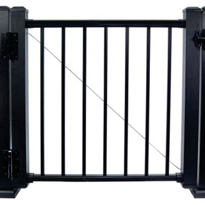 Fully assembled gate  with prestige rail gate posts, anti-sag, latch, hinges