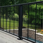 "36"" Level Crossover Post in Black Fine Texture rail top meets in flush with post top for over-the-post level handrail"