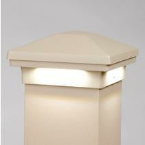 "Maple Cream Avalanche Down Lighted Post Cap Aluminum Railing  Cap Matchs DekPro Prestige Railing 3"" or 4"" Caps"