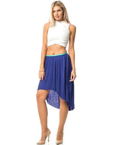 Blue Pleated Hilo Skirt