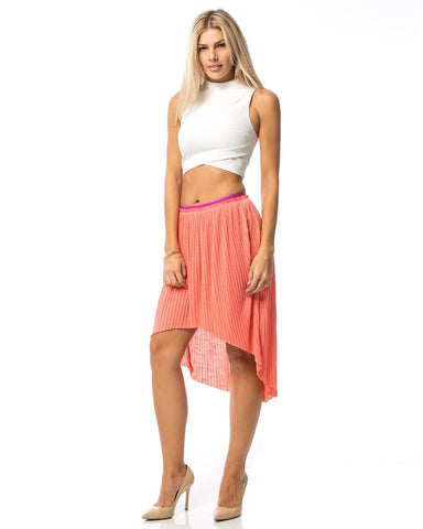 Coral Pleated Hilo Skirt