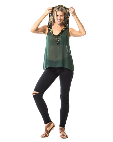 Olive Camouflage Hooded Chiffon Tank