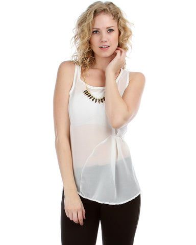 Gathered Chiffon Blouse With Attached Necklace