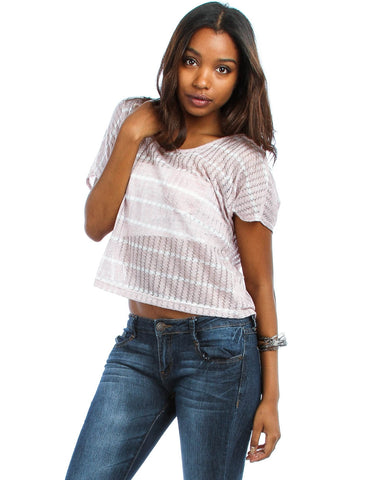 Rose Knitted Crop Top With Breast Pocket