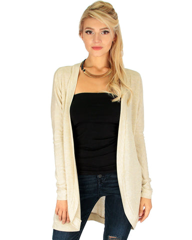 Oatmeal Long-Line Hooded Cardigan With Pockets