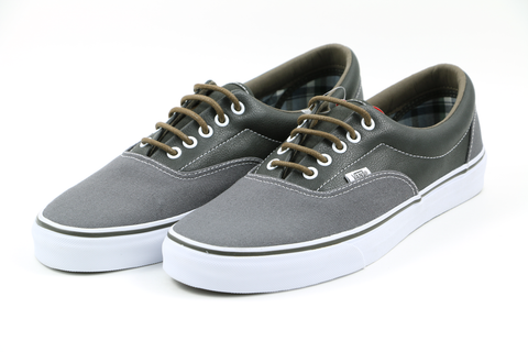 Vans Grey Canvas and Black Leather Low Tops