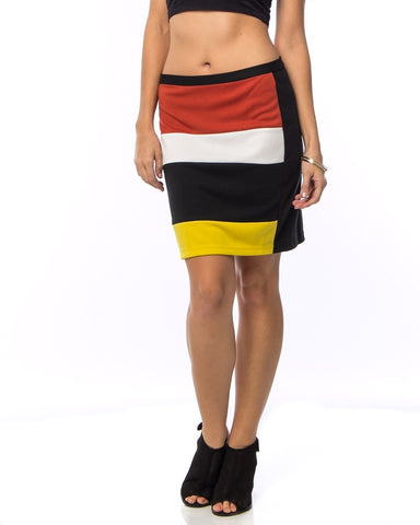 Color Block Striped Mini Skirt