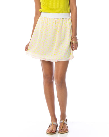 Neon Yellow Polka Dot Chiffon Skirt
