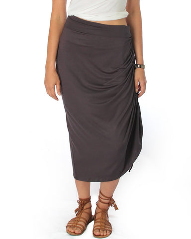 Charcoal Tie That Knot Fold Over Maxi Skirt
