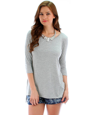 Heather Grey Plus Size Hi-Lo Tunic Top With Side Slits