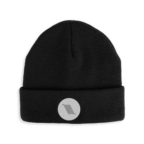 BARS EMBROIDERED BLACK BEANIE