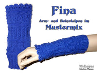 Fina, knitted arm and leg knit gaiter - product picture - Wollopus - knitting pattern