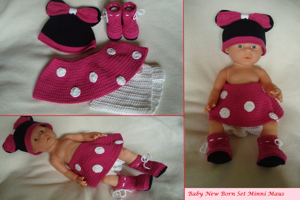 Minnie Mouse Baby Set crochet pattern from Puschi´s Product picture on http://thepatternfactory.net