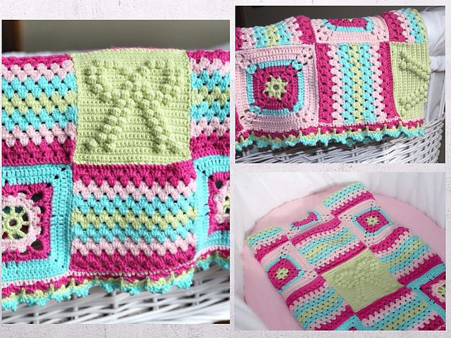 "Product picture baby blanket ""big love"" by Maschen mit Liebe at http://thepatternfactory.net"