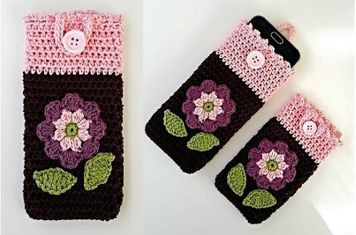 Product Smartphone Cosy with Flower Applique Crochet Pattern by AramisvonK at http://thepatternfactory.net