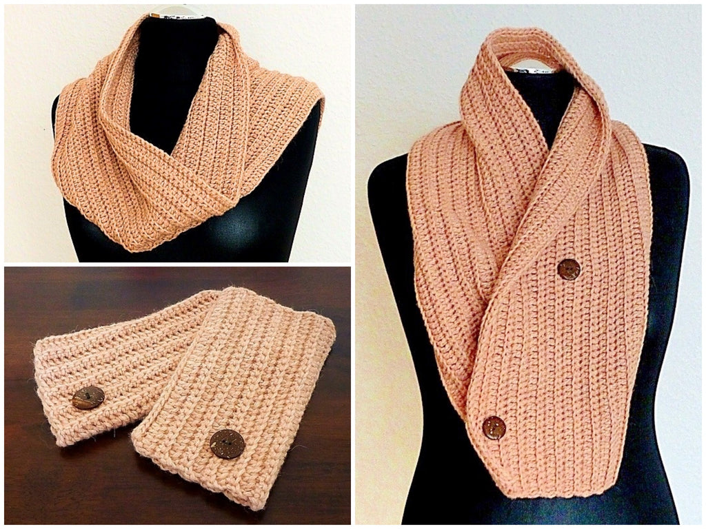 "Product Button Scarf & Pulse Warmers ""Winter Romance"" Crochet Pattern for Beginners by AramisvonK at http://thepatternfactory.net"