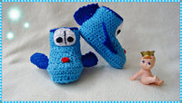 Baby Planes Shoes Crochet pattern from Puschis Häkelparadies Product picture at http://thepatternfactory.net