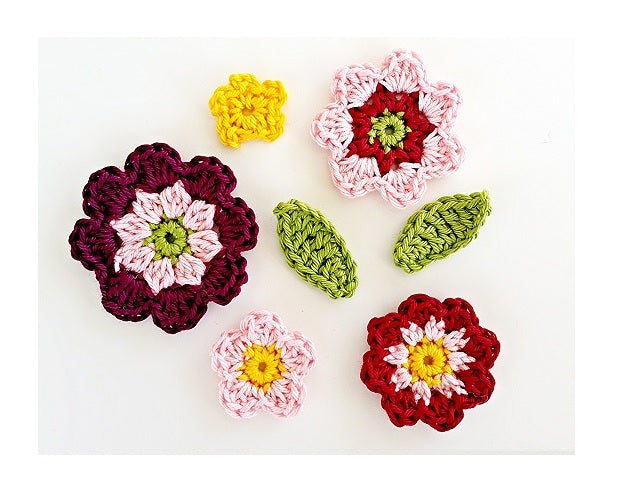 "Product ""Flowers and Leaves"" Applique Crochet Pattern by AramisvonK at http://thepatternfactory.net"