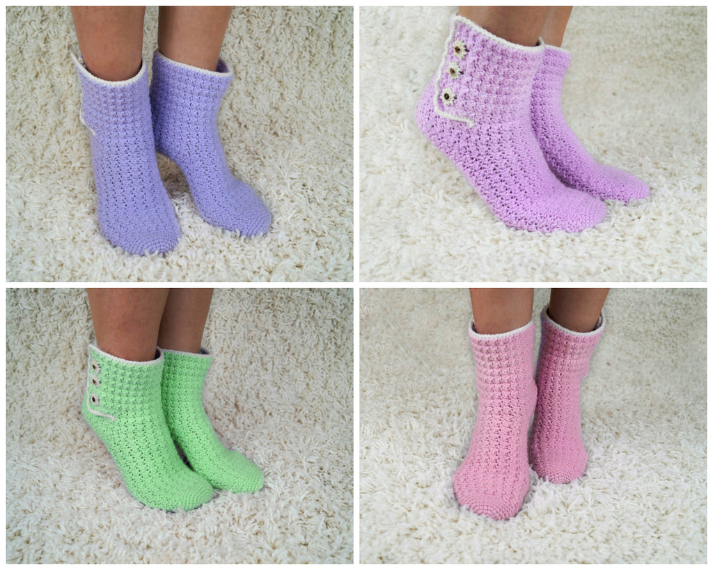 product picture House Socks - Crochet Pattern by LeaLeem at http://thepatternfactory.net