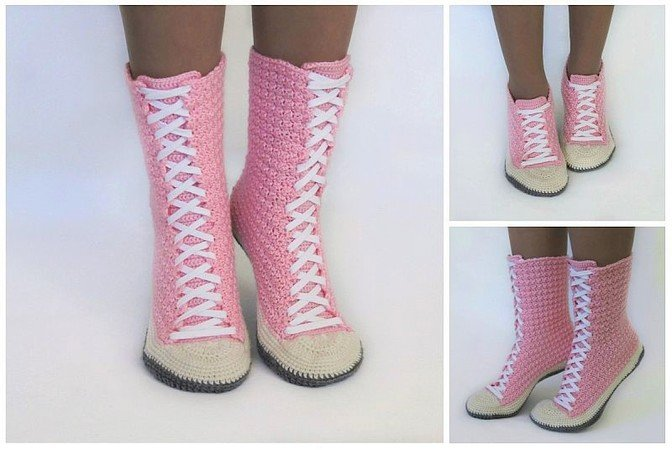 Product picture Crochet Pattern Sneaker Boots Sneakers by LeaLeem at http://thepatternfactory.net