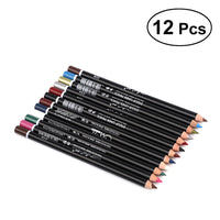 12 Pcs Waterproof Eyeliner Cosmetic Makeup Eye Lip Liner Long Lasting Eyebrow Pencil Pen Set