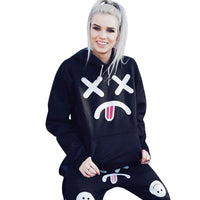 Womens  Printing Pocket Hoodie Sweatshirt Hooded Pullover Tops Blouse