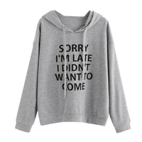 Women O-Neck Hoodie Jumper Long Sleeve Letter Print Sweatshirt Pullover Tops